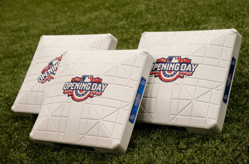ST. PETERSBURG, FL - APRIL 2: The Opening Day logo adorns bases prior to the start of a game between the Tampa Bay Rays and the New York Yankees on April 2, 2017 at Tropicana Field in St. Petersburg, Florida. (Photo by Brian Blanco/Getty Images)