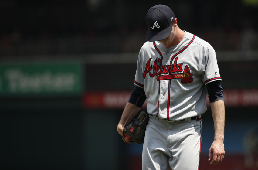 WASHINGTON, DC - AUGUST 07: Starting pitcher Max Fried #54 of the Atlanta Braves reacts after being hit by a line drive by Spencer Kieboom #64 of the Washington Nationals (not pictured) in the second inning at Nationals Park on August 7, 2018 in Washington, DC. (Photo by Patrick McDermott/Getty Images)