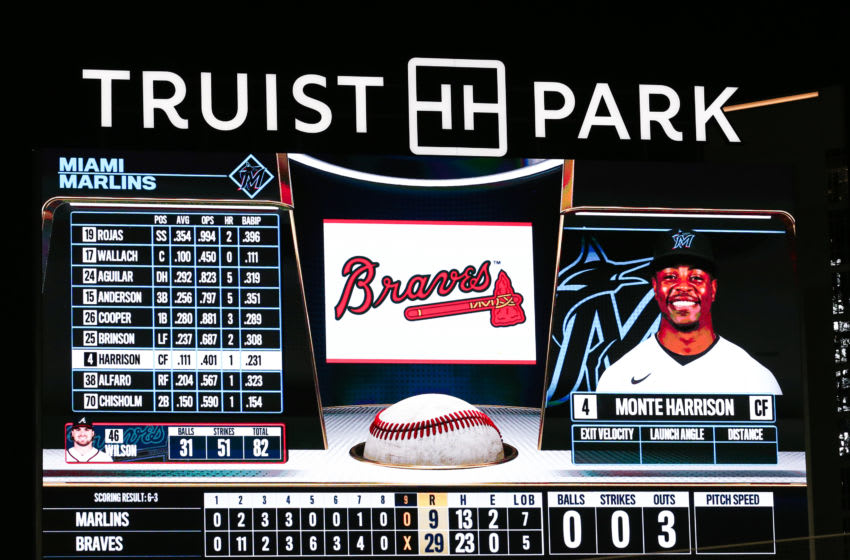 ATLANTA, GEORGIA - SEPTEMBER 09: The digital scoreboard is seen during the game between the Atlanta Braves and the Miami Marlins at Truist Park on September 9, 2020 in Atlanta, Georgia. (Photo by Carmen Mandato/Getty Images)