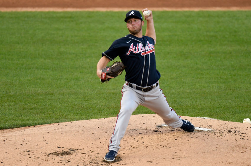 WASHINGTON, DC - SEPTEMBER 10: Robbie Erlin #49 of the Atlanta Braves pitches in the first inning against the Washington Nationals at Nationals Park on September 10, 2020 in Washington, DC. (Photo by Greg Fiume/Getty Images)