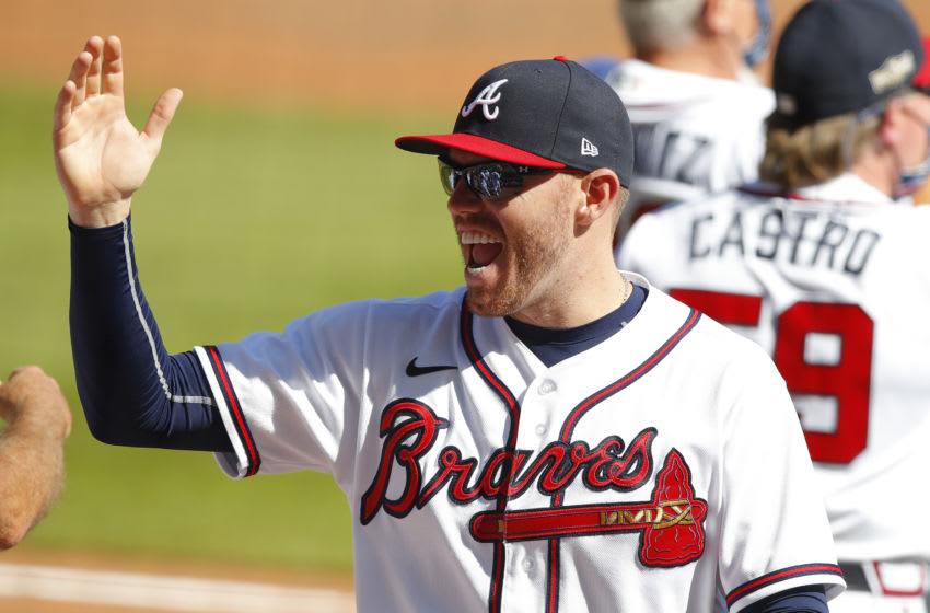 ATLANTA, GA - OCTOBER 01: Freddie Freeman #5 of the Atlanta Braves reacts at the conclusion of Game Two of the National League Wild Card Series against the Cincinnati Reds at Truist Park on October 1, 2020 in Atlanta, Georgia. (Photo by Todd Kirkland/Getty Images)
