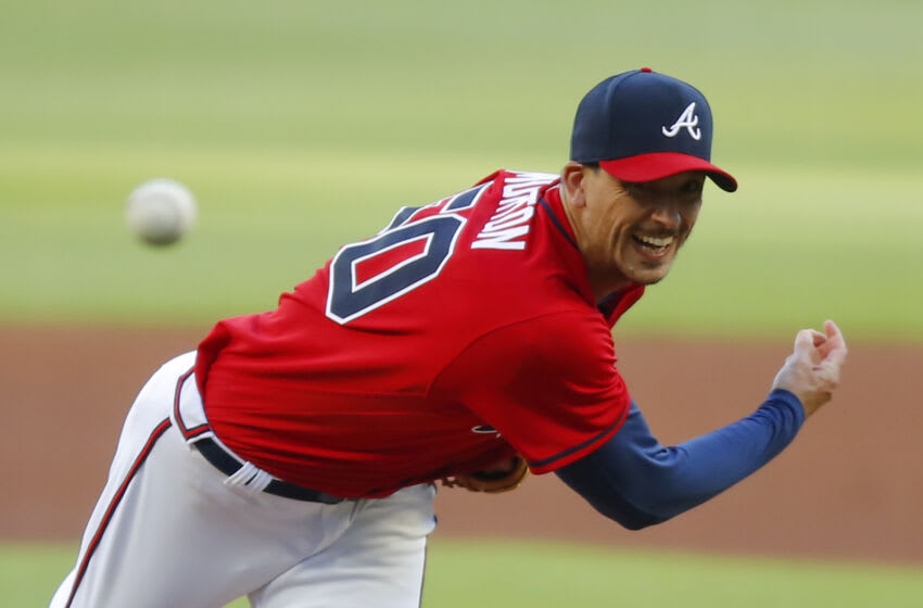 ATLANTA, GA - MAY 07: Charlie Morton #50 of the Atlanta Braves pitches in the first inning of an MLB game against the Philadelphia Phillies at Truist Park on May 7, 2021 in Atlanta, Georgia. (Photo by Todd Kirkland/Getty Images)