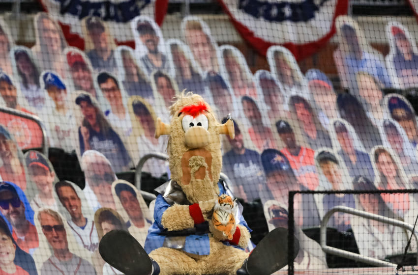 Atlanta Braves mascot Blooper, looking quite lonely. (Photo by Carmen Mandato/Getty Images)