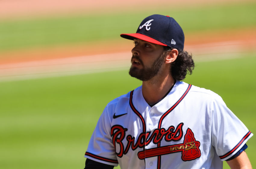 ATLANTA, GEORGIA - SEPTEMBER 07: Ian Anderson #48 of the Atlanta Braves looks on during a game against the Miami Marlins at Truist Park on September 7, 2020 in Atlanta, Georgia. (Photo by Carmen Mandato/Getty Images)