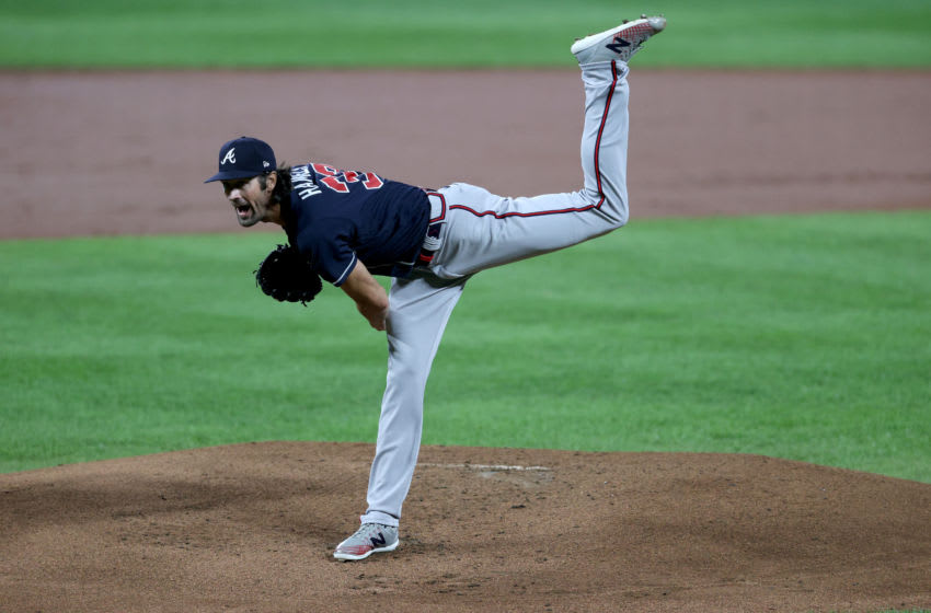BALTIMORE, MARYLAND - SEPTEMBER 16: Starting pitcher Cole Hamels #32 of the Atlanta Braves throws to a Baltimore Orioles batter at Oriole Park at Camden Yards on September 16, 2020 in Baltimore, Maryland. (Photo by Rob Carr/Getty Images)