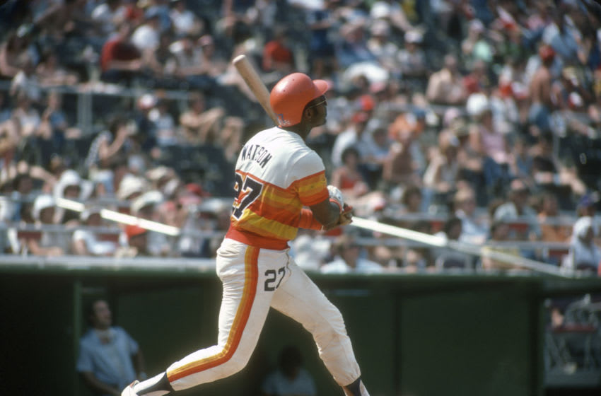 Bob Watson #27 of the Houston Astros bats against the Phillies in 1978. (Photo by Focus on Sport/Getty Images)