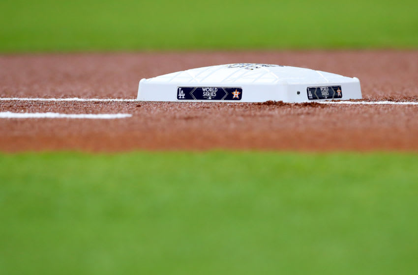 HOUSTON, TX - OCTOBER 28: A detail view of first base before game four of the 2017 World Series between the Houston Astros and the Los Angeles Dodgers at Minute Maid Park on October 28, 2017 in Houston, Texas. (Photo by Tom Pennington/Getty Images)