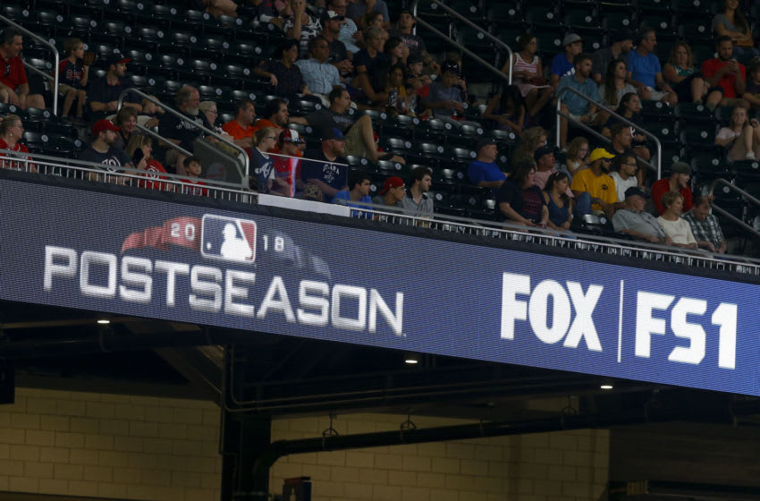 ATLANTA, GA - SEPTEMBER 14: Detail of stadium signage promoting the 2018 Major League Baseball Postseason on Fox and FS1 during the game between the Atlanta Braves and the Washington Nationals at SunTrust Park on September 14, 2018 in Atlanta, Georgia. (Photo by Mike Zarrilli/Getty Images)