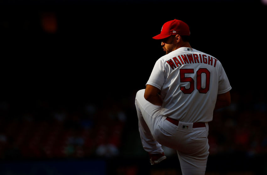 ST LOUIS, MO - JUNE 20: Adam Wainwright #50 of the St. Louis Cardinals delivers a warm-up pitch prior to playing against the Miami Marlins at Busch Stadium on June 20, 2019 in St Louis, Missouri. (Photo by Dilip Vishwanat/Getty Images)