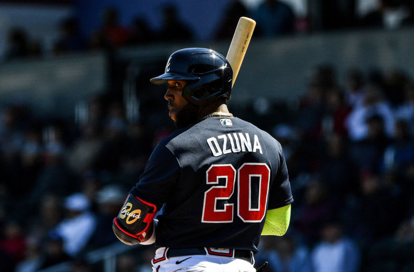 VENICE, FLORIDA - FEBRUARY 28: Marcell Ozuna #20 of the Atlanta Braves looks back for the signal in the first inning during the spring training game against the New York Yankees at Cool Today Park on February 28, 2020 in Venice, Florida. (Photo by Mark Brown/Getty Images)