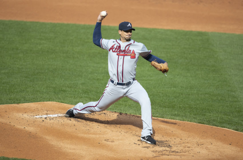 PHILADELPHIA, PA - APRIL 03: Charlie Morton #50 of the Atlanta Braves throws a pitch in the bottom of the first inning against the Philadelphia Phillies at Citizens Bank Park on April 3, 2021 in Philadelphia, Pennsylvania. (Photo by Mitchell Leff/Getty Images)