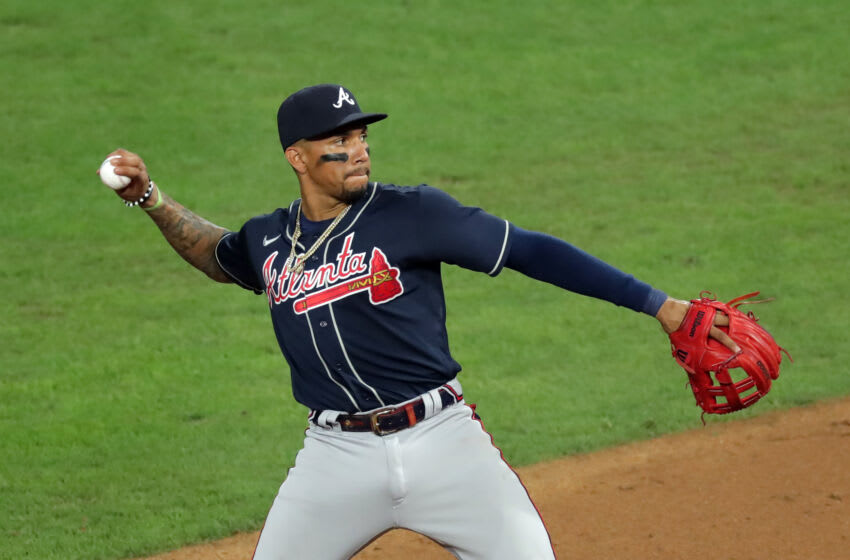 PHILADELPHIA, PA - AUGUST 10: Johan Camargo #17 of the Atlanta Braves plays the infield during a game against the Philadelphia Phillies at Citizens Bank Park on August 10, 2020 in Philadelphia, Pennsylvania. The Phillies won 13-8. (Photo by Hunter Martin/Getty Images)