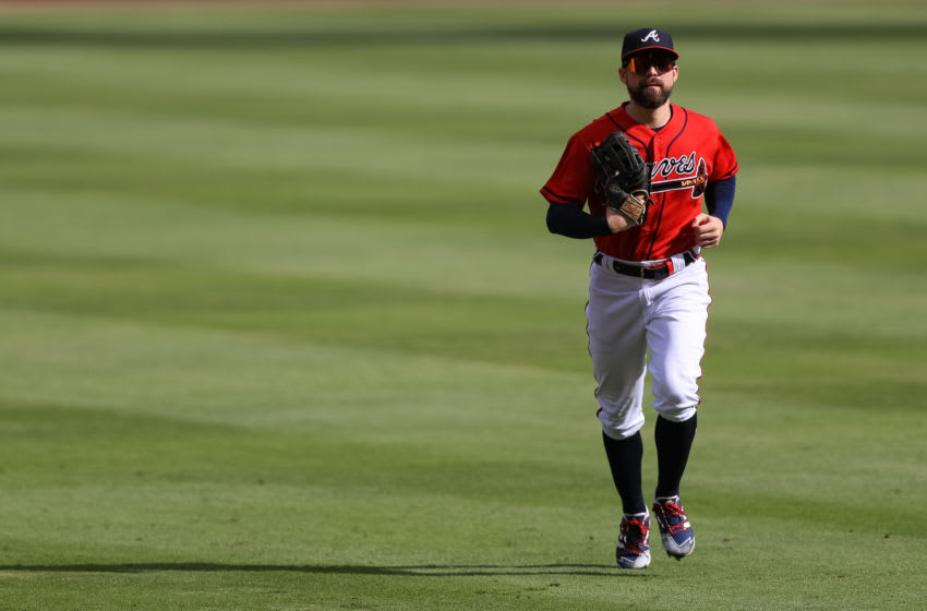 ATLANTA, GA - SEPTEMBER 27: Ender Inciarte #11 of the Atlanta Braves in action during a game against the Boston Red Sox at Truist Park on September 27, 2020 in Atlanta, Georgia. (Photo by Carmen Mandato/Getty Images)