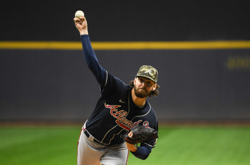 MILWAUKEE, WISCONSIN - MAY 15: Ian Anderson #36 of the Atlanta Braves pitches in the first inning against the Milwaukee Brewers at American Family Field on May 15, 2021 in Milwaukee, Wisconsin. (Photo by Quinn Harris/Getty Images)