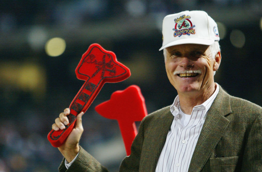 ATLANTA - SEPTEMBER 30: Ted Turner does the tomahawk chop during Game 1 of the National League Division Series between the Chicago Cubs and the Atlanta Braves on September 30, 2003 at Turner Field in Atlanta, Georgia. The Cubs defeated the Braves 4-2. (Photo by Jamie Squire/Getty Images)