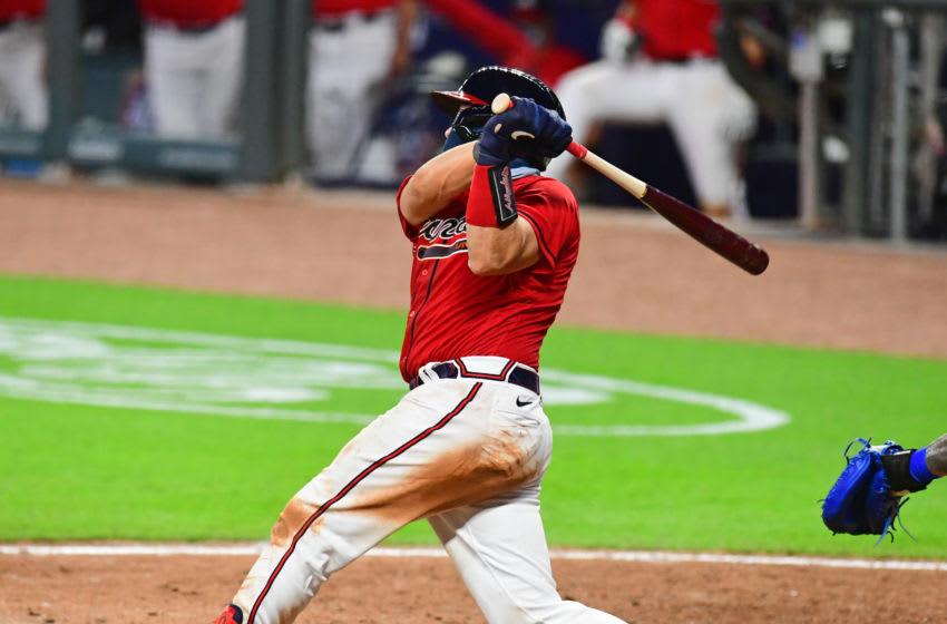 Travis d'Arnaud of the Atlanta Braves. (Photo by Scott Cunningham/Getty Images)