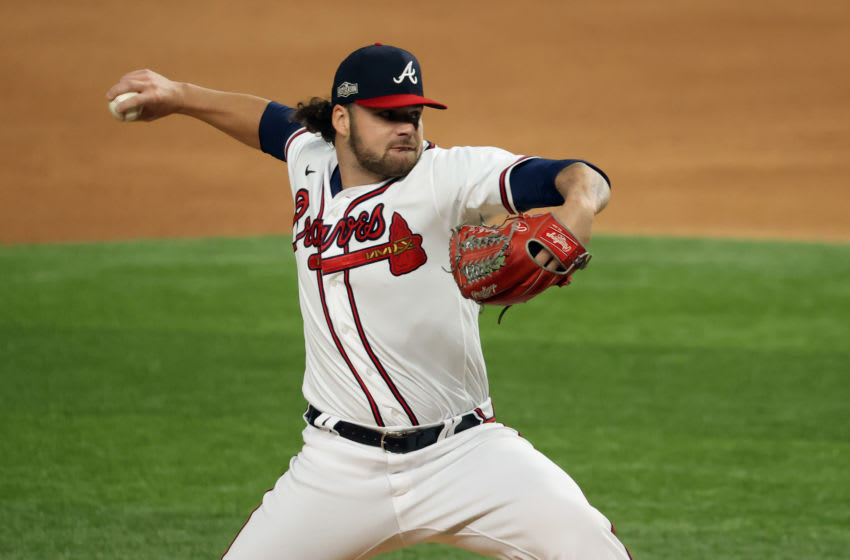 Atlanta Braves starting pitcher and giant-killer Bryse Wilson slaying the Dodgers. Mandatory Credit: Kevin Jairaj-USA TODAY Sports