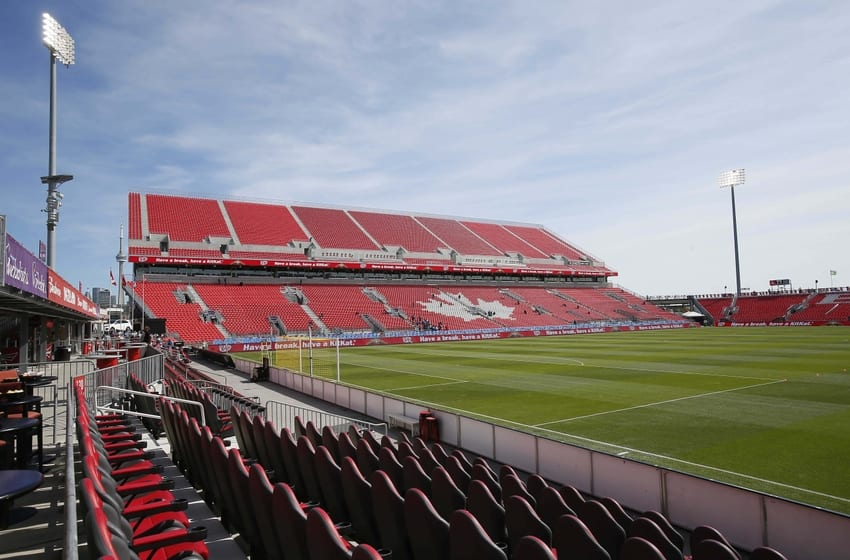 Sep 26, 2015; Toronto, Ontario, CAN; A general view of the east stands of BMO Field prior to a game between Toronto FC and the Chicago Fire. Mandatory Credit: John E. Sokolowski-USA TODAY Sports