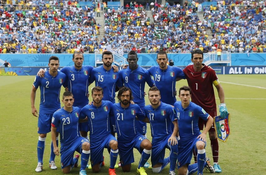 Jun 24, 2014; Natal, Rio Grande do Norte, BRAZIL; Italy poses for a team picture before their 2014 World Cup game against Uruguay at Estadio das Dunas. Mandatory Credit: Winslow Townson-USA TODAY Sports