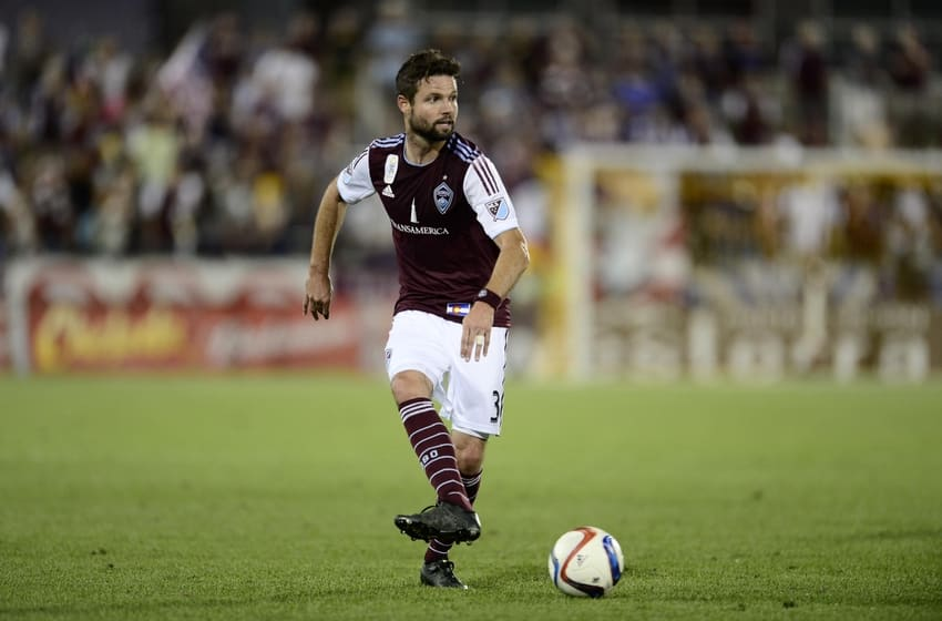 Sep 12, 2015; Commerce City, CO, USA; Colorado Rapids defender Drew Moor (3) passes the ball in the second half of the match against D.C. United at Dicks Sporting Goods Park. The match ended in a draw 1-1. Mandatory Credit: Ron Chenoy-USA TODAY Sports