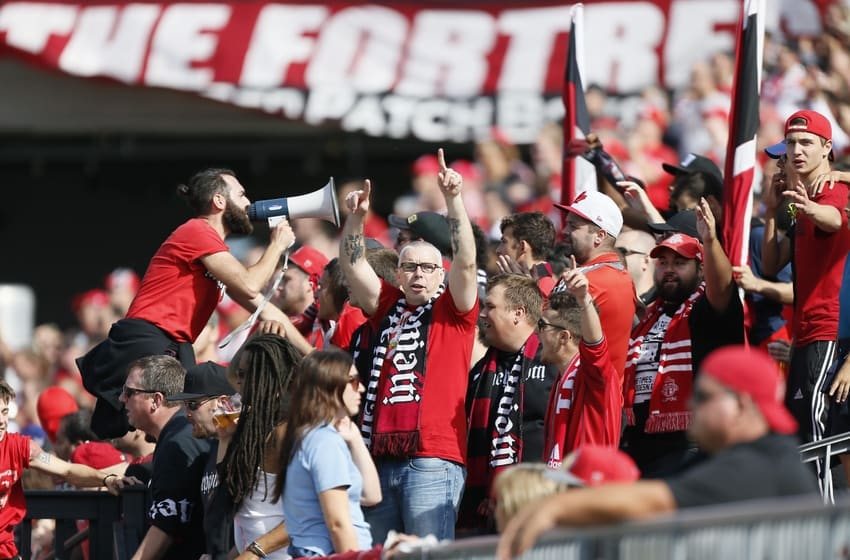 Sep 26, 2015; Toronto, Ontario, CAN; Toronto FC fans during a game against the Chicago Fire at BMO Field. Toronto defeated Chicago 3-2. Mandatory Credit: John E. Sokolowski-USA TODAY Sports