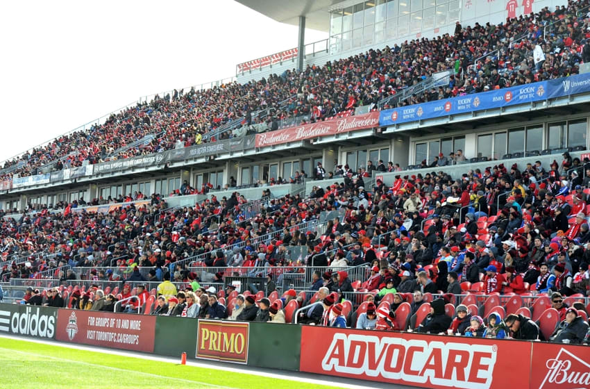 Oct 17, 2015; Toronto, Ontario, CAN; A general view of fans in the west stands watching Toronto FC host Columbus Crew at BMO Field. Mandatory Credit: Dan Hamilton-USA TODAY Sports