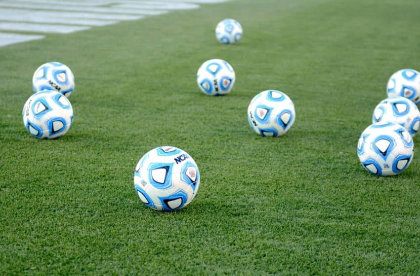 Dec 12, 2014; Cary, NC, USA; General view of game balls before the a College Cup semifinal between the Virginia Cavaliers and UMBC at Wake Med Soccer Park. Mandatory Credit: Rob Kinnan-USA TODAY Sports