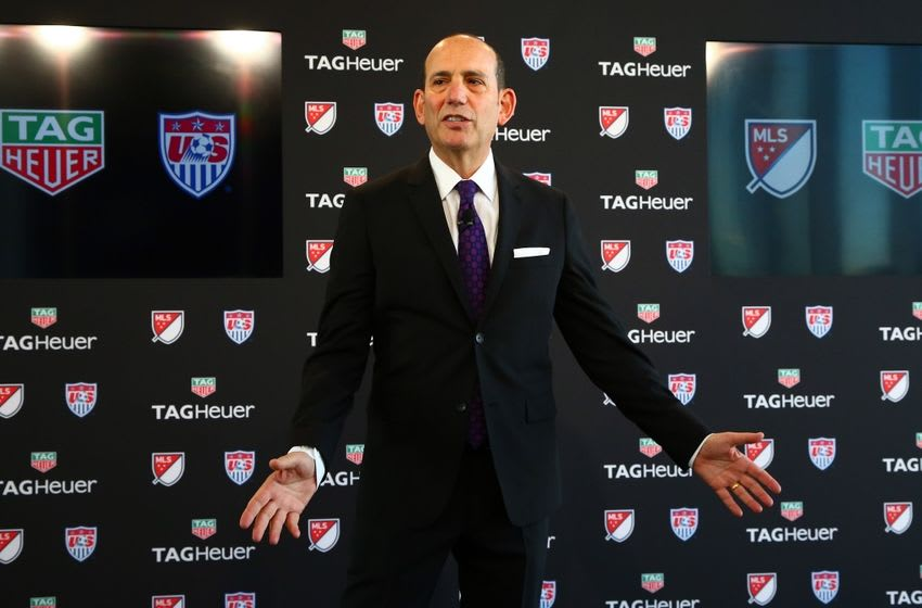 Feb 22, 2016; New York, NY, USA; MLS commissioner Don Garber addresses the guests during the Tag Heuer and MLS and US Soccer partnership announcement at Glasshouses Event Space. Mandatory Credit: Andy Marlin-USA TODAY Sports