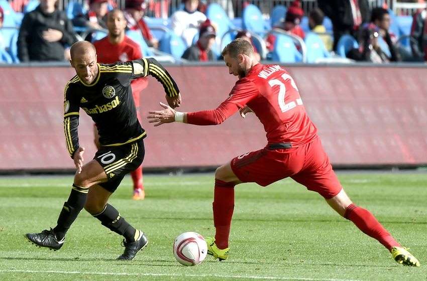 Oct 17, 2015; Toronto, Ontario, CAN; Columbus Crew forward Federico Higuain (10) moves the ball past Toronto FC defender Josh Williams (23) in the second half at BMO Field. Higuain scored late in the second half as Columbus won 2-0. Mandatory Credit: Dan Hamilton-USA TODAY Sports