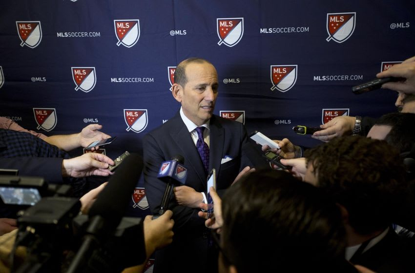 Jan 14, 2016; Baltimore, MD, USA; MLS commissioner Don Garber speaks to the media after the first round of the 2016 MLS SuperDraft at Baltimore Convention Center. Mandatory Credit: Geoff Burke-USA TODAY Sports