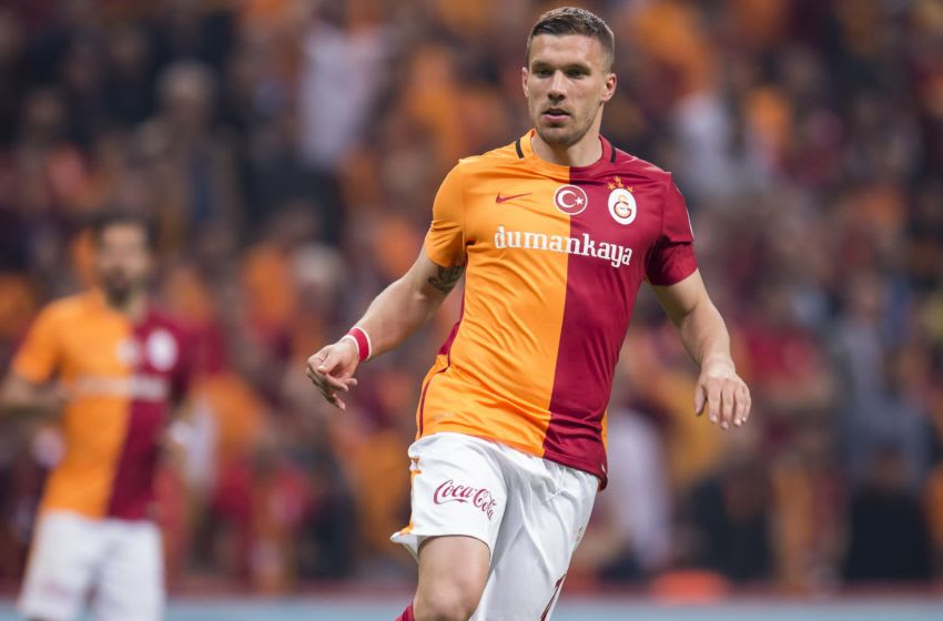 Lukas Josef Podolski of Galatasaray during the Super Lig match between Galatasaray and Fenerbahce on April 13, 2016 at the Turk Telekom Arena in Istanbul, Turkey.(Photo by VI Images via Getty Images)