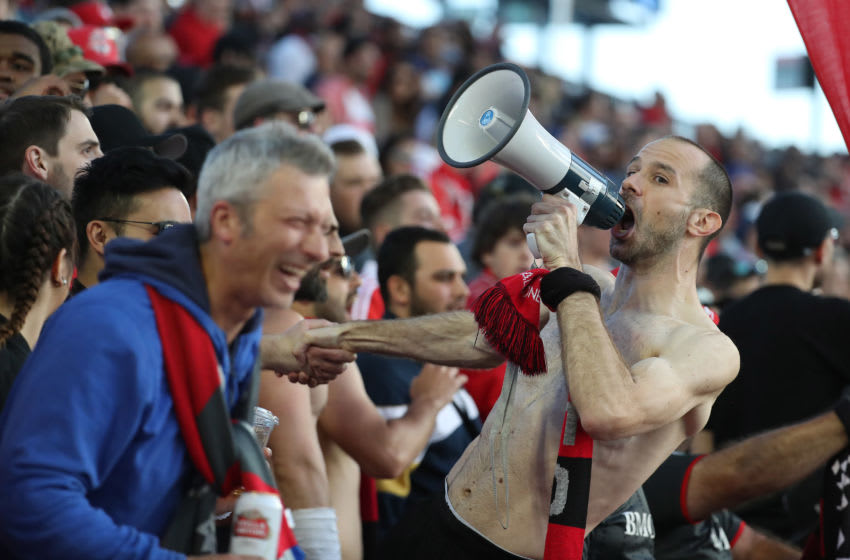TORONTO, ON- JUNE 1: Fans in the south end cheer as the Toronto FC plays Montreal Impact at BMO Field in Toronto. June 1, 2016. (Steve Russell/Toronto Star via Getty Images)