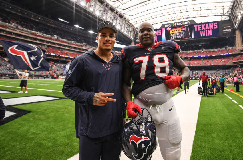 HOUSTON, TEXAS - OCTOBER 06: Kenny Stills #12 and Laremy Tunsil #78 of the Houston Texans pose aftet the game against the Atlanta Falcons at NRG Stadium on October 06, 2019 in Houston, Texas. (Photo by Mark Brown/Getty Images)
