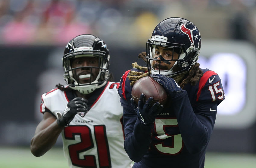 HOUSTON, TEXAS - OCTOBER 06: Will Fuller #15 of the Houston Texans catches a pass for a 44 yard touchdown as he beats Desmond Trufant #21 of the Atlanta Falcons in the fourth quarter at NRG Stadium on October 06, 2019 in Houston, Texas. (Photo by Bob Levey/Getty Images)