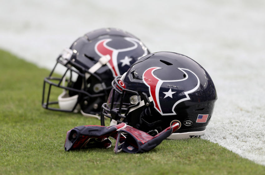 BALTIMORE, MARYLAND - NOVEMBER 17: Houston Texans helmets sit on the field before the start of their game against the Baltimore Ravens at M&T Bank Stadium on November 17, 2019 in Baltimore, Maryland. (Photo by Rob Carr/Getty Images)