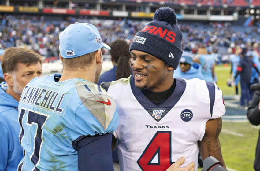NASHVILLE, TN - DECEMBER 15: Deshaun Watson #4 of the Houston Texans shakes hands after the game with Ryan Tannehill #17 of the Tennessee Titans at Nissan Stadium on December 15, 2019 in Nashville, Tennessee. The Texans defeated the Titans 24-21. (Photo by Wesley Hitt/Getty Images)