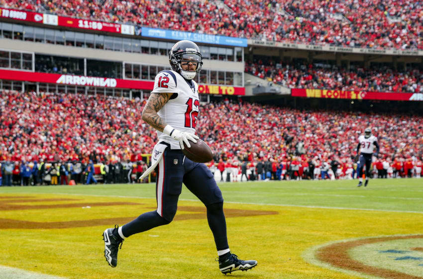 KANSAS CITY, MISSOURI - JANUARY 12: Kenny Stills #12 of the Houston Texans celebrates his 54-yard touchdown reception during the first quarter against the Kansas City Chiefs in the AFC Divisional playoff game at Arrowhead Stadium on January 12, 2020 in Kansas City, Missouri. (Photo by Tom Pennington/Getty Images)