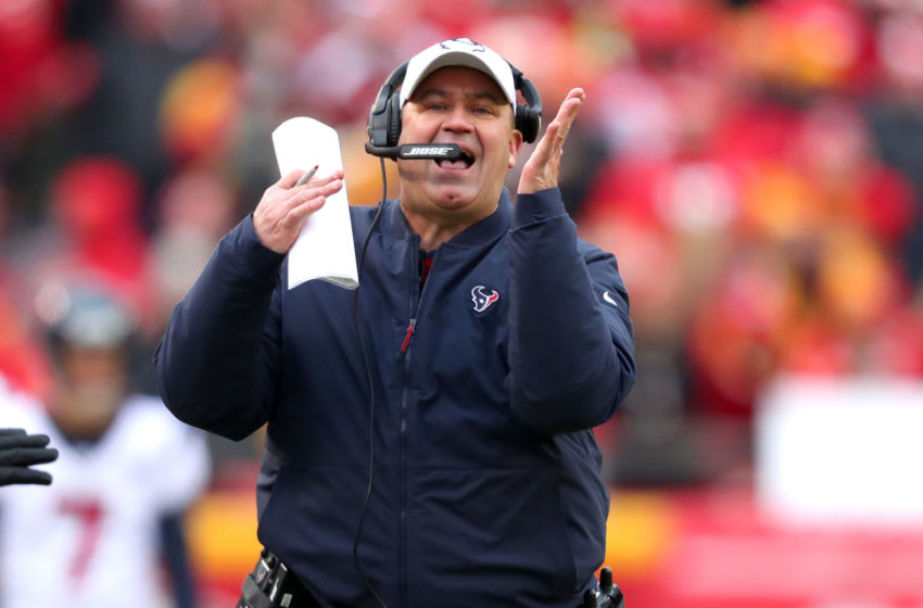 KANSAS CITY, MISSOURI - JANUARY 12: Head coach Bill O'Brien of the Houston Texans reacts against the Kansas City Chiefs during the second quarter in the AFC Divisional playoff game at Arrowhead Stadium on January 12, 2020 in Kansas City, Missouri. (Photo by Tom Pennington/Getty Images)