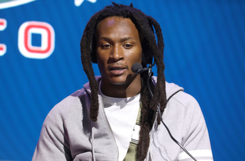 MIAMI, FLORIDA - JANUARY 31: NFL wide receiver DeAndre Hopkins of the Houston Texans speaks onstage during day 3 of SiriusXM at Super Bowl LIV on January 31, 2020 in Miami, Florida. (Photo by Cindy Ord/Getty Images for SiriusXM )