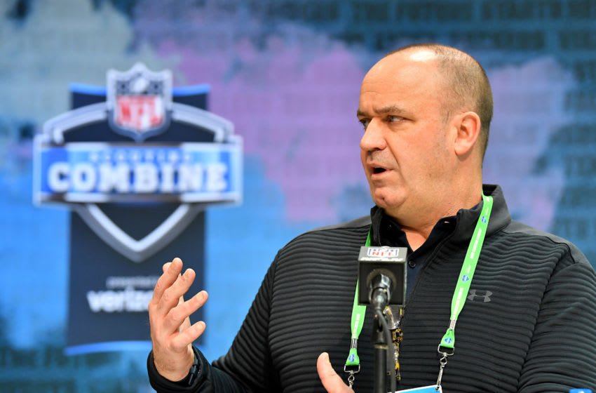 INDIANAPOLIS, INDIANA - FEBRUARY 25: Head coach Bill O'Brien of the Houston Texans interviews during the first day of the NFL Scouting Combine at Lucas Oil Stadium on February 25, 2020 in Indianapolis, Indiana. (Photo by Alika Jenner/Getty Images)