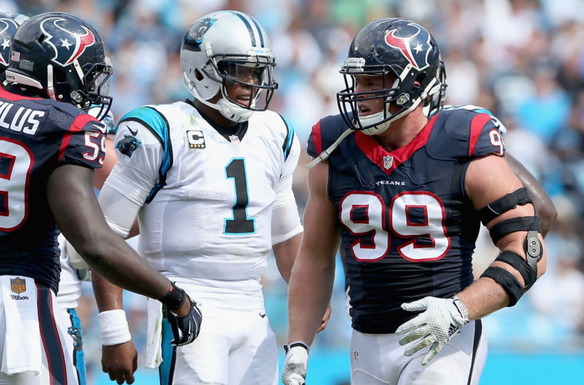 Cam Newton of the Carolina Panthers and J.J. Watt of the Houston Texans (Photo by Streeter Lecka/Getty Images)