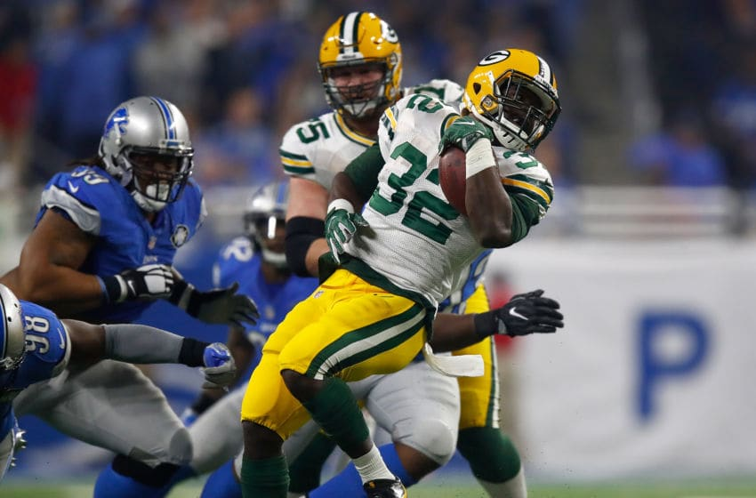 DETROIT, MI - JANUARY 1: Christine Michael #32 of the Green Bay Packers looks for extra yards against the Detroit Lions at Ford Field on January 1, 2017 in Detroit, Michigan. (Photo by Gregory Shamus/Getty Images)