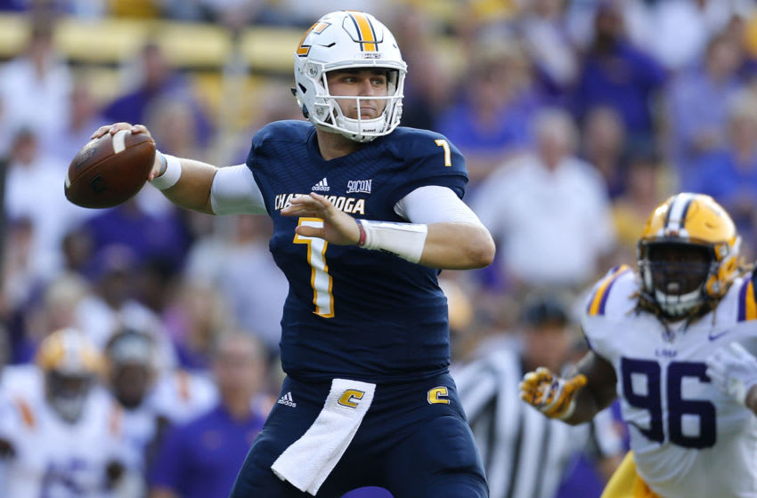 BATON ROUGE, LA - SEPTEMBER 09: Nick Tiano #7 of the Chattanooga Mocs throws the ball during the first half of a game against the LSU Tigers at Tiger Stadium on September 9, 2017 in Baton Rouge, Louisiana. (Photo by Jonathan Bachman/Getty Images)