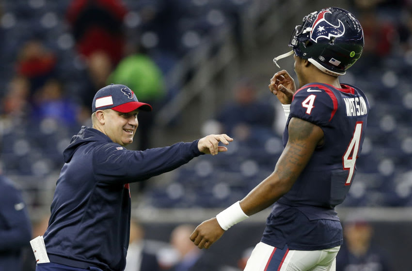HOUSTON, TX - DECEMBER 30: Deshaun Watson #4 of the Houston Texans talks with head coach Bill O'Brien of the Houston Texans before the game against the Jacksonville Jaguars at NRG Stadium on December 30, 2018 in Houston, Texas. (Photo by Tim Warner/Getty Images)