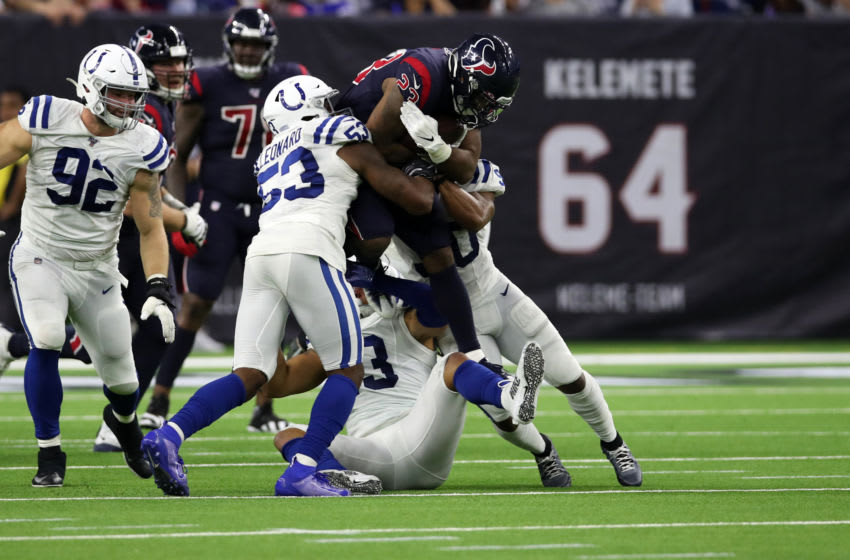 HOUSTON, TX - NOVEMBER 21: Carlos Hyde #23 of the Houston Texans runs with the ball during the game against the Indianapolis Colts at NRG Stadium on November 21, 2019 in Houston, Texas. The Texans defeated the Colts 20-17. (Photo by Rob Leiter/Getty Images)