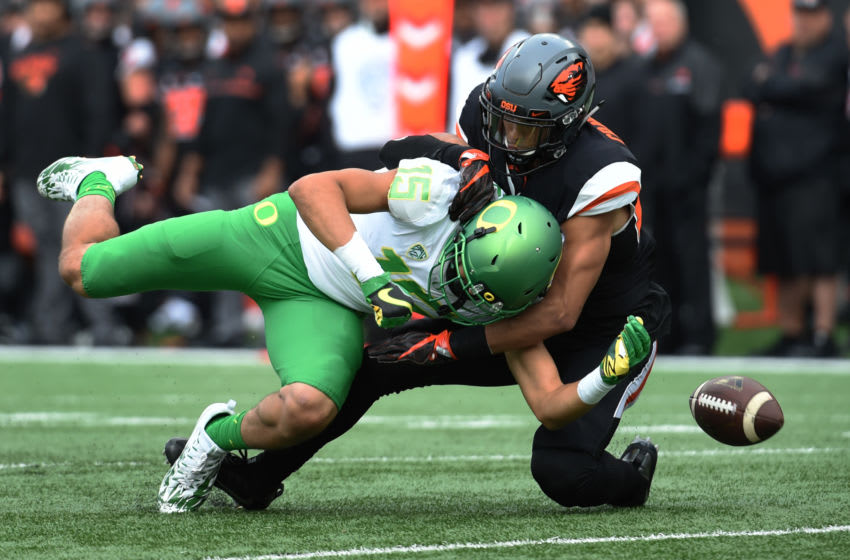 CORVALLIS, OR - NOVEMBER 26: Cornerback Xavier Crawford #22 of the Oregon State Beavers breaks up a pass intended for wide receiver Jalen Brown #15 of the Oregon Ducks during the first quarter of the game at Reser Stadium on November 26, 2016 in Corvallis, Oregon. (Photo by Steve Dykes/Getty Images)