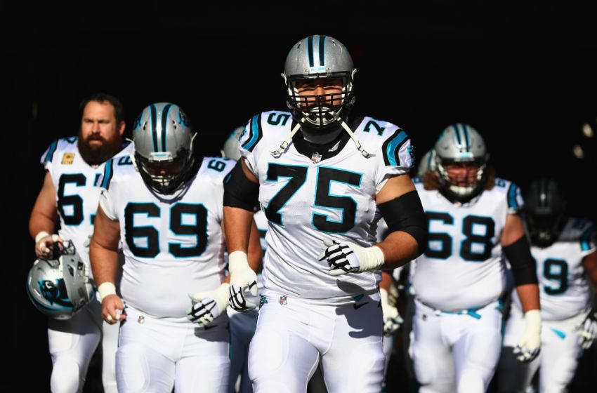 EAST RUTHERFORD, NJ - NOVEMBER 26: Offensive tackle Matt Kalil #75, center Tyler Larsen #69, offensive guard Andrew Norwell #68 and teammates take the field before playing against the New York Jets during the first quarter of the game at MetLife Stadium on November 26, 2017 in East Rutherford, New Jersey. (Photo by Al Bello/Getty Images)