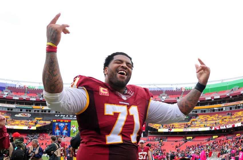 LANDOVER, MD - OCTOBER 04: Trent Williams #71 of the Washington Redskins celebrates after beating the Philadelphia Eagles 23-20 at FedExField on October 4, 2015 in Landover, Maryland. (Photo by Evan Habeeb/Getty Images)
