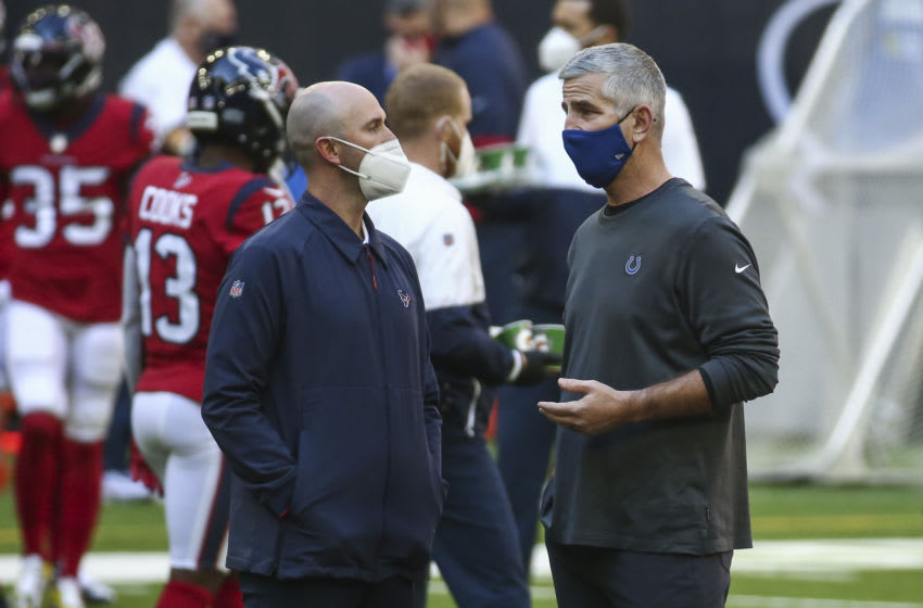 Houston Texans executive vice president of football operations Jack Easterby (left) before the game at NRG Stadium. Mandatory Credit: Troy Taormina-USA TODAY Sports
