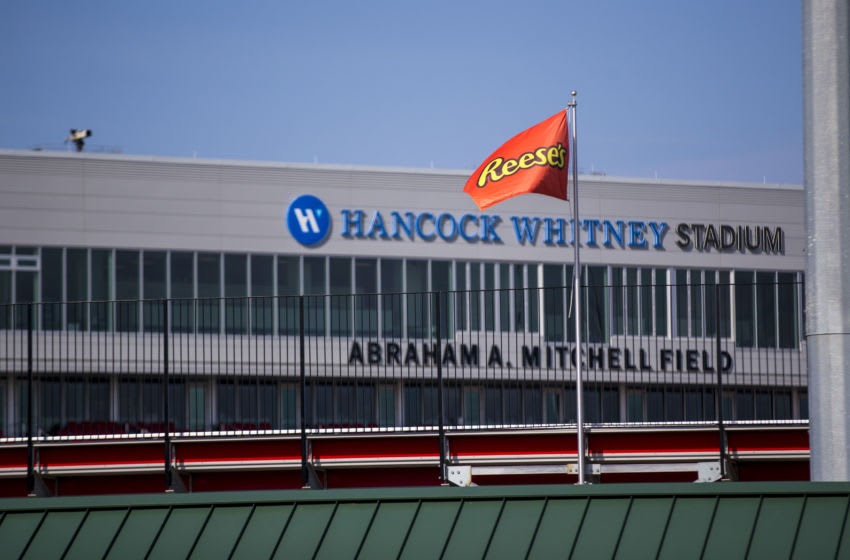 Jan 26, 2021; Mobile, Alabama, USA; Reese's flags fly above Hancock Whitney Stadium for Senior Bowl week. The first day's practices were moved indoors with no media access due to weather concerns. Mandatory Credit: Vasha Hunt-USA TODAY Sports